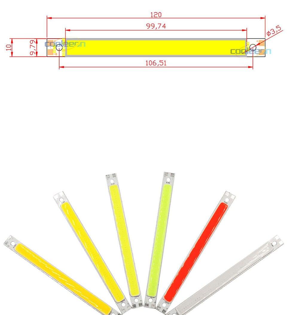 120mm 4.72in LED Bar Light Strip COB Bulb 12V 7W 10W LED Lamp Green Blue Red White Emitting Colors 12010mm COB Chip (1)