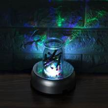 Unique Rotating Crystal Display Lamp Base Stand Battery Powered Colorful 7 LED Light With AC Adapter 100V-127V(China)