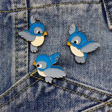 3pcs / set Mini Cartoon Cute Blue Bird Flying Brooch In The Sky Bird Children's Clothing Cute Badge Bag Accessories Brooch(China)