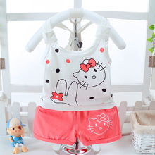 2017 Summer Fashing hello kitty Baby Boys clothes Girls Clothing Set Children Vest + Pants Set Kids Cartoon Clothes Casual Suits