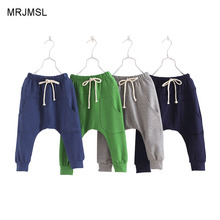MRJMSL Hot selling size90~130 2016 solid  children pants for boys trousers girls harem pants  candy kids child 5 colors