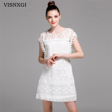 Buy VISNXGI Summer New 2017 Women Casual Beach Short Dress Tassel Black White Mini Lace Dress Sexy Party Dresses Vestidos Plus Size for $7.69 in AliExpress store
