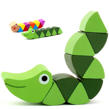 Kids Twisting Worm Toys Wooden Toys Baby Children Fingers Flexible Training Science Cute Crocodile Insert Animals Puzzle Toys