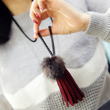New Trendy Leather Rope Mink Hair Ball Shape Long Necklaces Tassel Statement Necklace Pendants Jewelry Sweater Chain 5L2021(China)