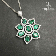 TBJ,100% natural 4ct zambia emerald big pendant necklace with chains in 925 Sterling silver gemstone fine jewelry as best gift(China)