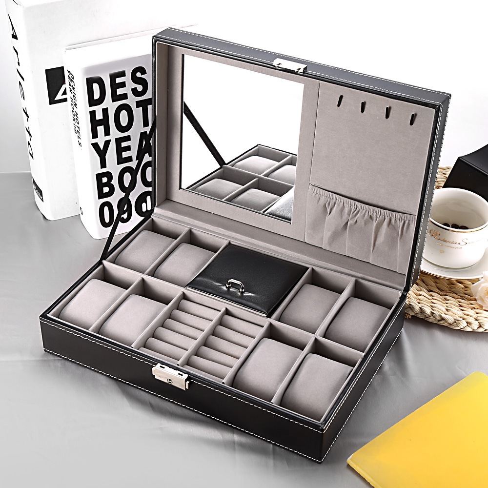 2 In 1 8 Watch Box Grids+3 Mixed Grids PU Leather Watch Case Storage Organizer Box Luxury Jewelry Ring Display Watch Boxes Black (10)