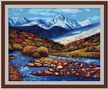 MaHuaf-X243 Abstract 40x50cm Framed oil painting by numbers Iceberg mountain river Snow melt canvas pictures for living room