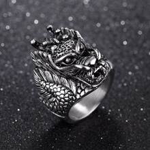 FATE LOVE Fashion Jewelry Polished 316L Stainless Steel Novelty Punk Male Men loong Rings US size 7 8 9 10 11 12 13(China)