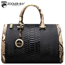 ZOOLER Women Snake Pattern Genuine Leather Bag Ladies Handbag Fashion Cowhide Leather Shoulder Bags Female Work Boston Tote Bag
