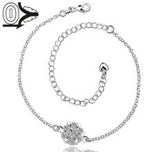 Lose Money Foot Chain,Fashion Silver-plated Anklets,Flower With Big Stone Leg Bracelet,Delicate Handmade Cheap Anklets