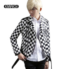 Black White Plaid Men's Leather Jacket Slim Fit Coat Mens Fashion Motorcycle Jacket Men Punk Rock Outwear Stage Clothing A427(China)