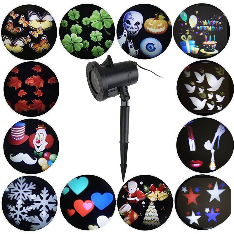Tanbaby Halloween Christmas Outdoor Night Snowflakes Projector Light Decorations 12 Slides LED Moving Landscape Spotlights <br>