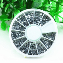 3D Tips Silver Acrylic Round Rhinestone Crystal Glitter Flat Back Wheel Design Nail Art Decoration Phone Manicure Jewelry Tools(China)