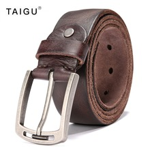 TAIGU 100% Italian Cow Leather Belt Men 105cm~125cm Length Metal Pin Buckle Free Shipping