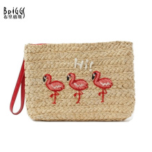 BRIGGS Japan and Korean Style Handmade Straw Women Bag Hand Stitch Animal Pattern Envelope Bag For Women Ladies Day Clutches