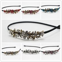 1pc Fashion Flower Headband Princess  Rhinestone Hair Band Hoop Cute  Brides Jewelry Crystal Rubber Accessories 812-1