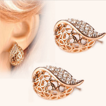 Korean Fashion Jewelry Hollow Semi Refined Lady Temperament Stud Earrings Buds Shaped for Women 2016 Free shipping