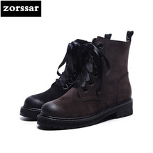 {Zorssar} Brand shoes 2018 Suede Leather Martin boots Women Ankle Boots Comfort flat heel shoes winter warm woman shoes lace
