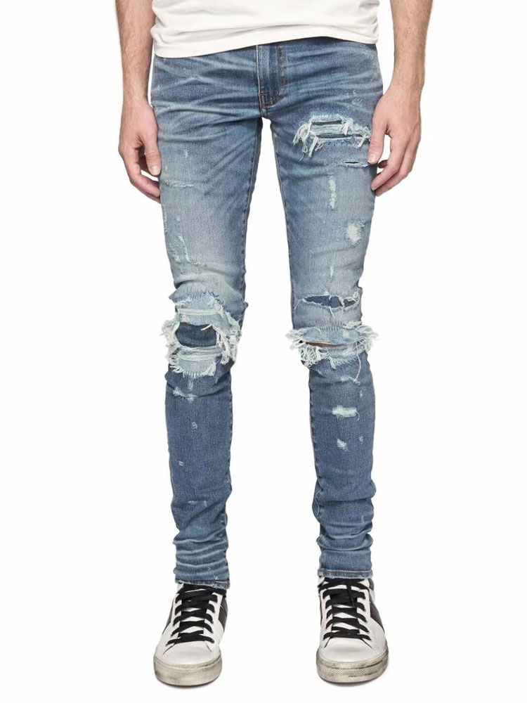 American Streetwear Fashion Men Jeans Blue Destroyed Patch Ripped Jeans Men Broken Pants hombre Brand Hip Hop Skinny Jeans homme