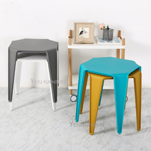 Modern Design Stackable Colorful Loft Style Plastic Side Table, living room low dining stool, Tea table ottoman shoes stool 1pc