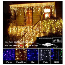 100led led curtain light 4m Droop 0.5m curtain icicle string Lights 220V New year christmas Wedding Party Decorative lamp EU(China)