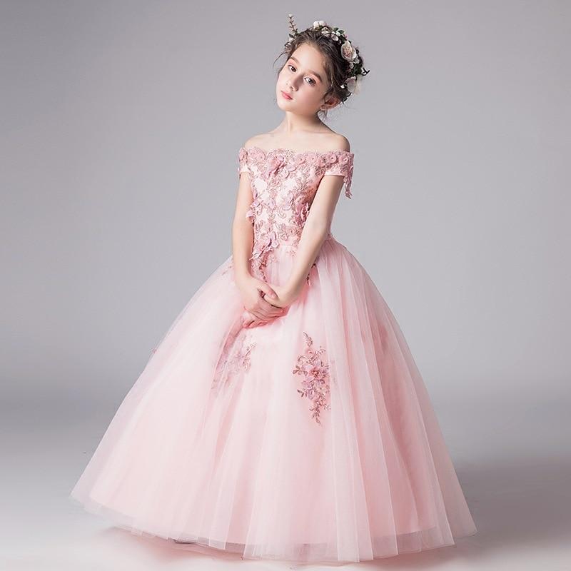 2018 New Girls Princess Wedding party Dress Bridesmaid white /& blue flower K78