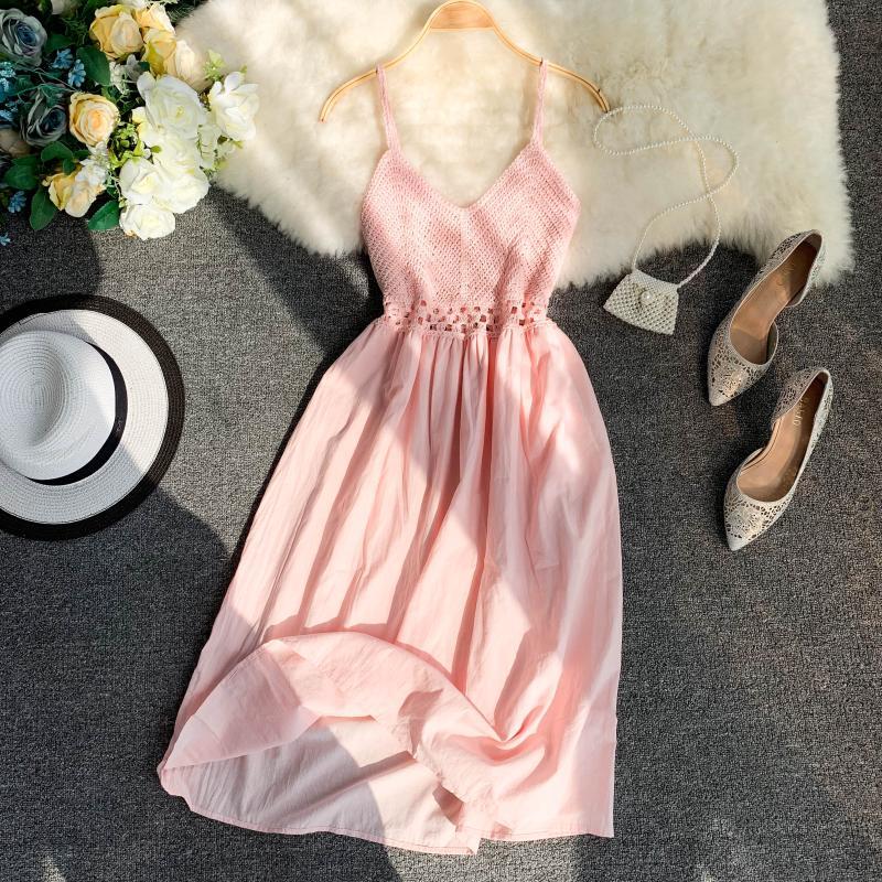 19 new fashion women's dresses Fresh openwork knit stitching V-neck strap high waist dress 11