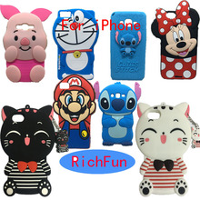 Hot 3D Cute Cartoon Silicon Lucky Cat Stitch Minnie Phone Soft Silicon Back Cover Phone Case For iPhone 4 4S 5 5S 6 6S 7 Plus