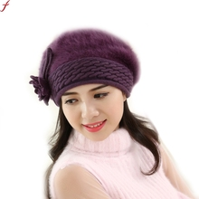 2017 New Women Slouchy Baggy Winter Warm Soft Flowers Knitted Hat Crochet Beanies Knit Warm caps Women Gorros(China)