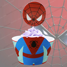Spiderman cupcake holder,24pcs,kids birthday decoration,cupcake wrapper spiderman,cupcake topper,birthday party cake accessory