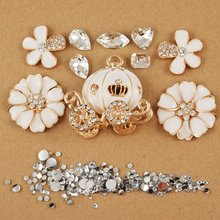 White diamond flower white pumpkin car stickers Crystal Cell Phone Deco Kit/Set for galaxy s6 s8 S7 edge for phone 6s 6plus(China)