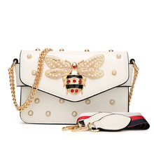 Women Brand Desinger Rhinestones Bee PU Leather Shoulder Bag Small Crossbody Bag with Chain For Girls Ladies Bag Bolso Mujer(China)