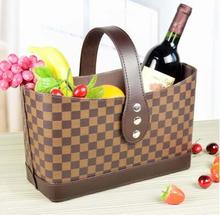 small size fashion home leather gift basket storage basket for magazine clothes storage 281A(China)