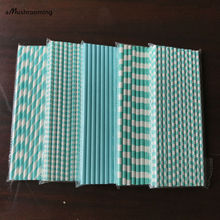 125pcs(5bags) Blue Ocean Theme Wedding Party Supplies Paper Straws Aqua Blue Stripes Diamond Checker Design Table Decoration(China)