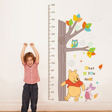 Fashion removable vinyl kids winnie pooh height wall sticker children bedroom wall decals home decor wall pictures