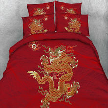 Red Bedding Sets Dragon Quilt/Duvet Cover Set Pillowcases Twin/Queen/King Size 2017 New