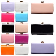 Miss Lulu Women Wallets and Purses Girls Small Ball Clasp Matinee Purses Coin Wallet Money Bag Patent Leather Clutch Hand Bag