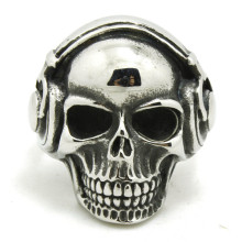 New!!  Free Shipping Silver Earphone Skull Ring Stainless Steel High Quality Men Boy Punk Amazing Skull Ring