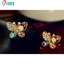 Stud Earrings OTOKY Gussy Life Hollow Luxury Bright Colorful Cystal Simulated Pearl Butterfly Earrings Mar10
