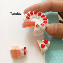 Tanduzi 10PCS(5 Sets) Strawberry Cream Cake Resin Miniature Food Cabochon Flatback Scrapbooking DIY Dollhouse Food Birthday Cake