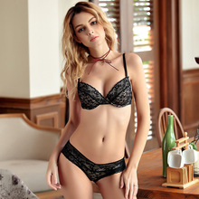 2018 Summer Comfortable New Thin Cotton Cup Ladies' Underwear Deep V Sexy Bra Bra Set Briefs for Women(China)