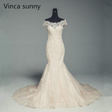 Buy Vinca sunny vestidos de novia New Arrival Gorgeous Beaded Mermaid Wedding Dresses 2018 Lace Appliques Sexy wedding dress for $144.21 in AliExpress store