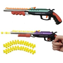 1pc Double barreled Soft Bullet Gun pistols Children Classic toys plastic Kids gift Outdoor game shooter safety(China)