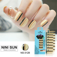 16PCS 100% Nail Polish Strip Nail Art Patch Foil Striping Tape Designs Strips Wraps Gold Line Stickers Manicure Set For Nails(China)