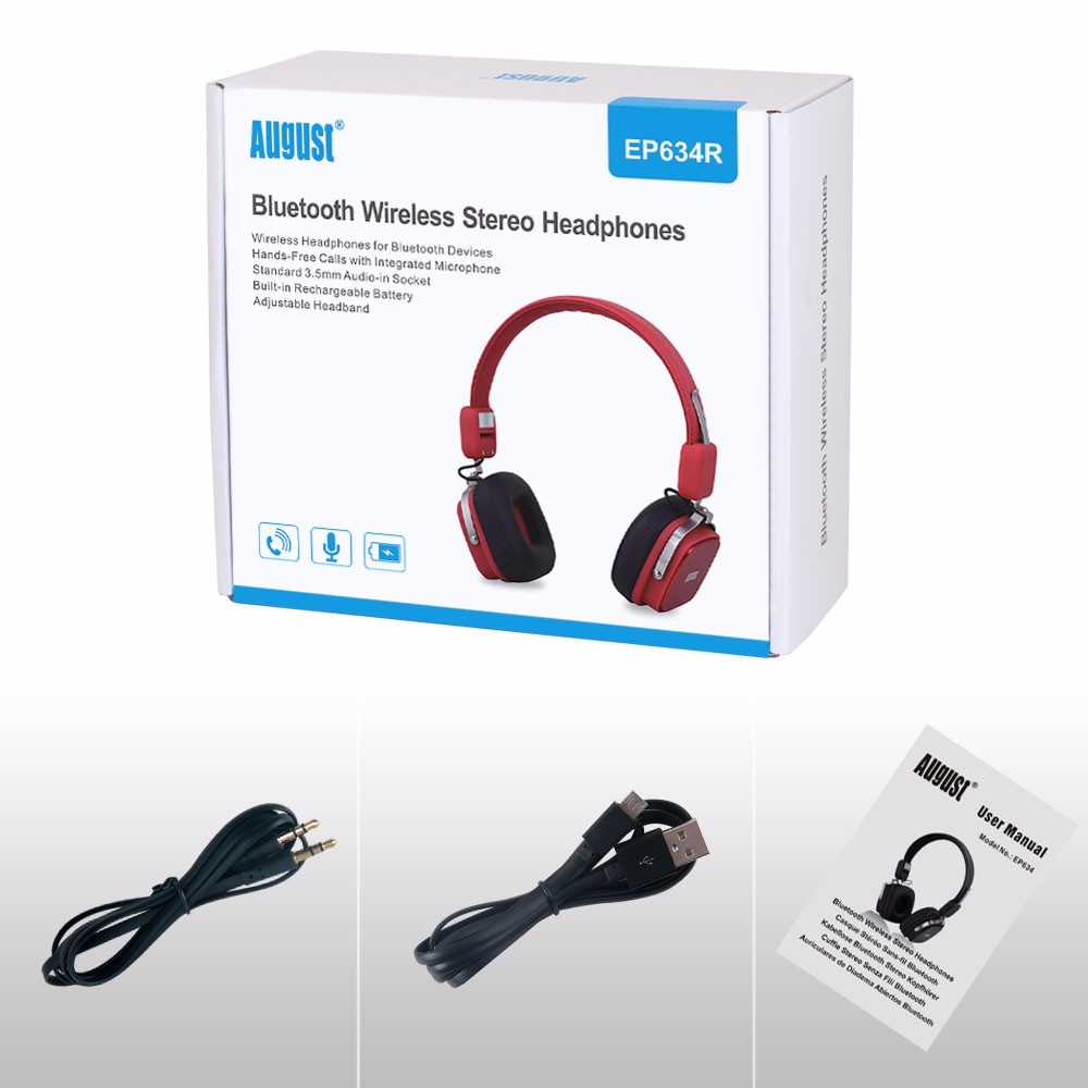 August EP634 Wireless Bluetooth Headphones with Mic Portable Sport Bluetooth Headset with Mic Powerful Bass Over-Ear Earphones