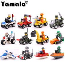 [Yamala] City Series Police Car Fighter mini Educational Building Blocks Toys Compatible With legoingly City(China)