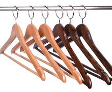 10 pcs hotels anti-theft coat wooden hangers enclosed hook ring windbreaker clothing hanging wooden racks