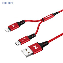 NEW NOHON Type C Micro 8pin USB Cable For iPhone 7 6 6S Plus 5 5S iOS 10 9 8 Samsung Android Phone 2 in 1 Data Sync USB Cables(China)