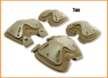 Tan color Tactical 4-in-1 Anti-Impact Military Knee Pads of X-type Knee Protector Support for CS and Extreme Sports good use