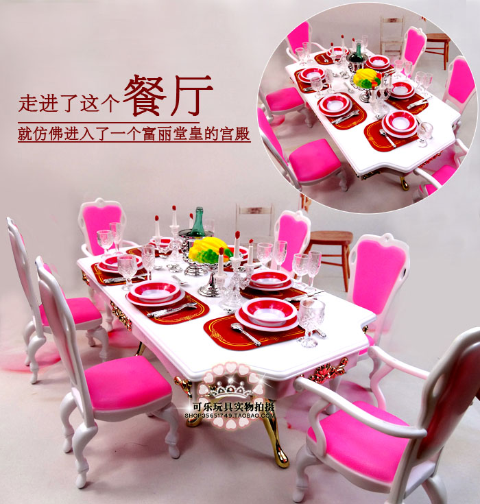 New arrival Christmas/Birthday Gift Children Doll Accessories house Furniture Play Set Cute dinning room For barbie Doll 1/6<br>
